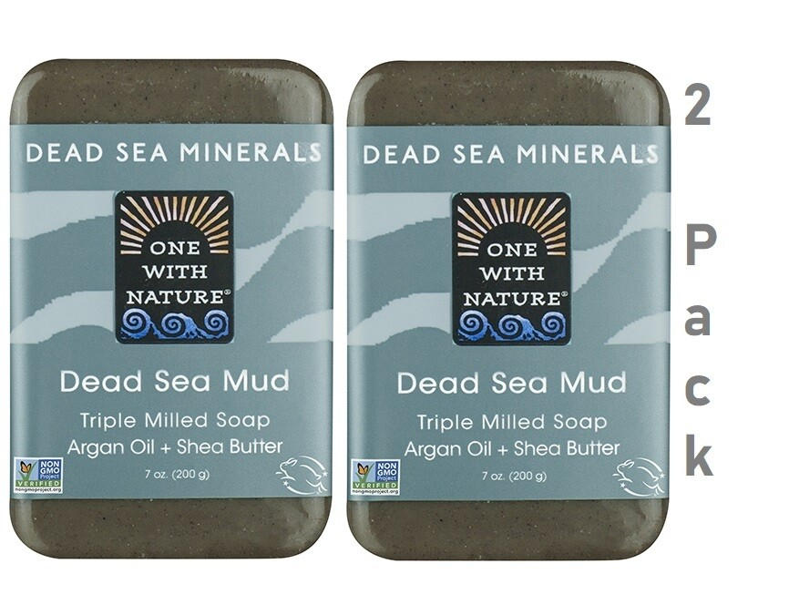 One With Nature Dead Sea Minerals Dead Sea Mud Bar, 7 Ounce, Pack of 2