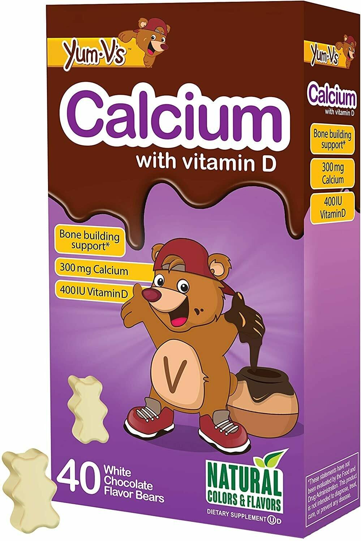 YUM-Vs Calcium 300 mg with Vitamin D 400 IU, White Chocolate Flavor, 40 Gummies