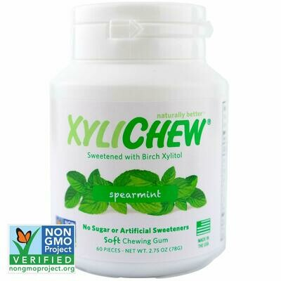 Xylichew Gum for Fresh Breath, Spearmint, 60 Pieces