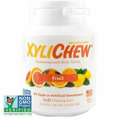 Xylichew Gum for Fresh Breath, Fruit, 60 Pieces