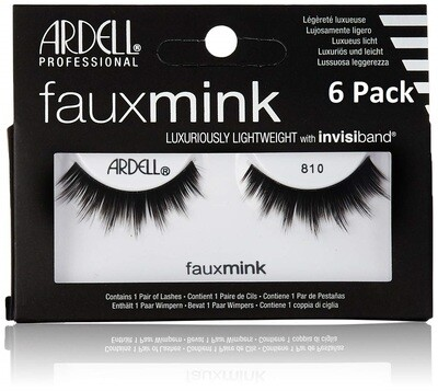 Ardell Faux Mink, Black Lashes, #810, 1 Count, Pack of 6
