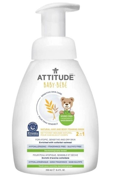Attitude Natural Hair and Body Foaming Wash Baby, Fragrance Free, 8.4 fl Ounce