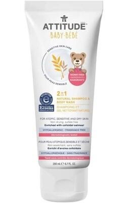 Attitude Baby Shampoo and Body Wash for Sensitive Skin, Fragrance Free, 6.7 fl Ounce
