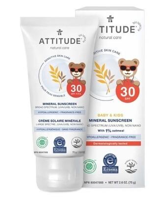 Attitude Sensitive Skin, Kids Sunscreen, SPF 30, Fragrance Free, 2.6 Ounce