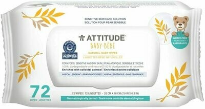 Attitude Sensitive Skin All Natural Baby Wipes, Fragrance Free, 72 Wipes