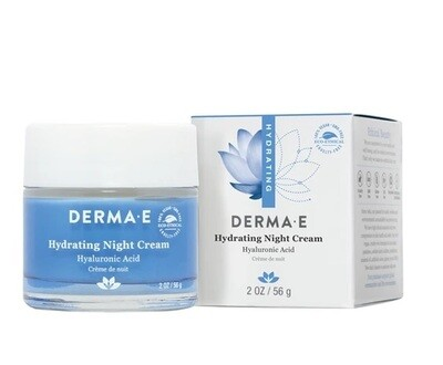 Derma E Hydrating Night Cream with Hyaluronic Acid, 2 Ounce