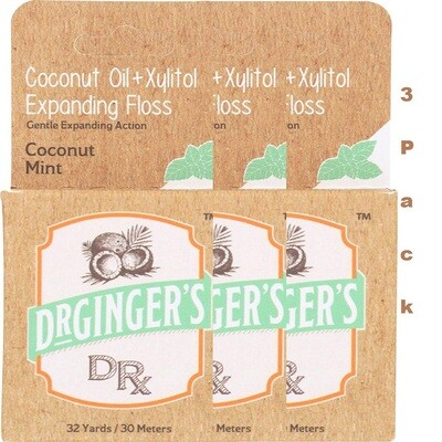 Dr Gingers Expanding Floss Coconut Mint 32 Yard, Pack of 3