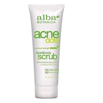 Alba Botanica Acnedote Face and Body Scrub, 8 Ounce