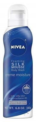 Nivea Creme Moisture Foaming Silk Mousse Body Wash, 6.8 Ounce