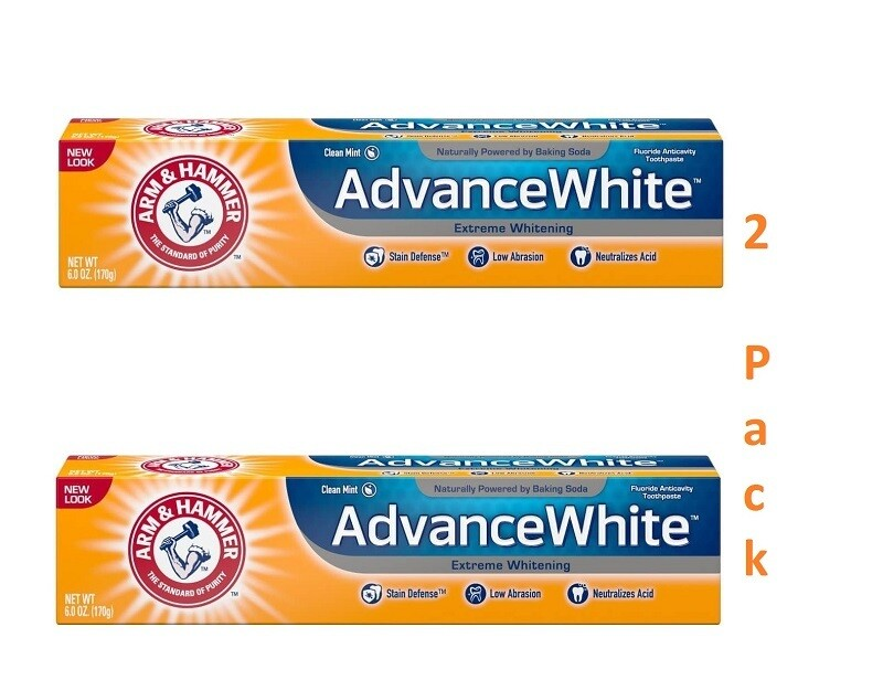 Arm & Hammer Advance White Extreme Whitening Toothpaste, Clean Mint, 6 Ounce, Pack of 2
