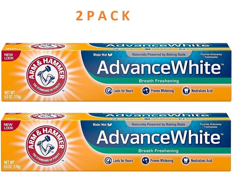 Arm & Hammer Advance White Baking Soda Toothpaste, Winter Mint, 6 Ounce, 2 Pack