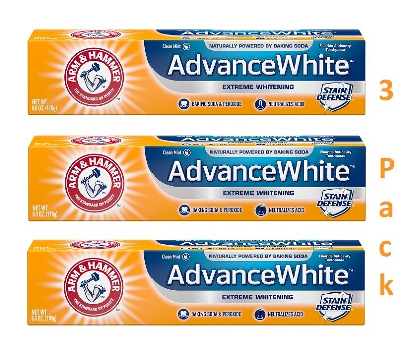 Arm & Hammer Advance White Toothpaste, 6 Ounce, Pack of 3