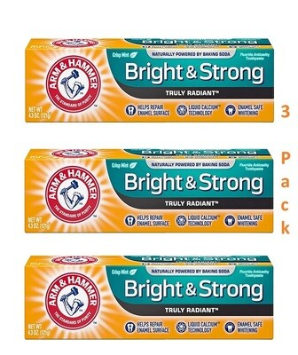 Arm & Hammer Bright and Strong Anticavity Toothpaste, Fresh Mint, 4.3 Ounce, Pack of 3