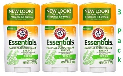 Arm & Hammer Essentials Solid Deodorant Travel Size, Fresh, 1 Ounce, Pack of 3