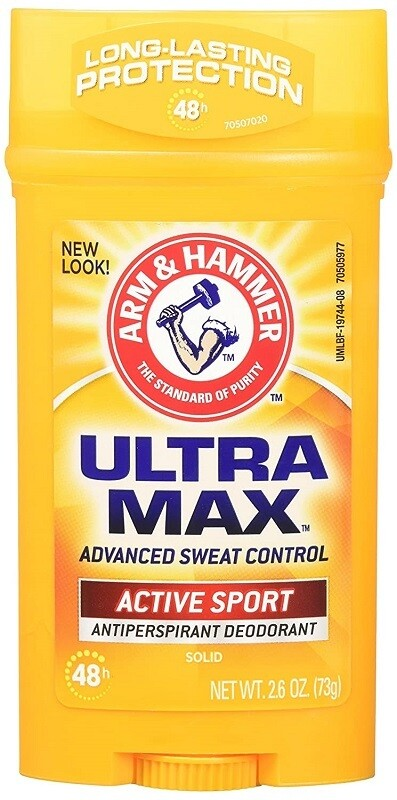 Arm & Hammer Ultra Max Invisible Solid Wide Stick Antiperspirant Deodorant, Active Sport, 2.6 Ounce
