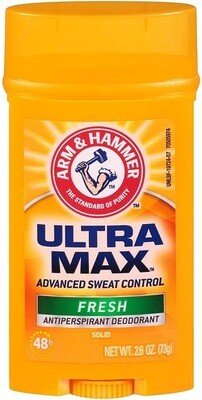 Arm & Hammer Ultramax Solid Antiperspirant Deodorant Wide Stick, Fresh Scent 2.6 Ounce