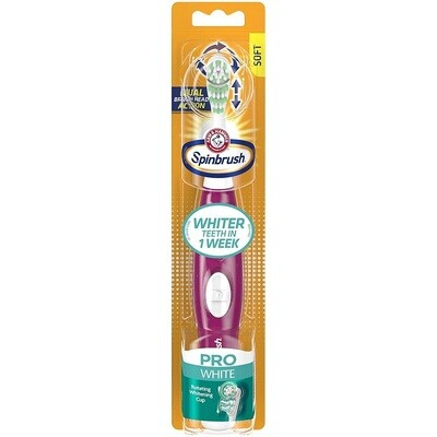 Arm & Hammer Spinbrush Pro White Battery Toothbrush, Soft, 1 Count, (Colors Vary)