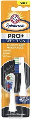 Arm & Hammer Spinbrush PRO+ Deep Clean Powered Toothbrush Replacement Brush Heads, Soft, 2 Brush Heads/Pack