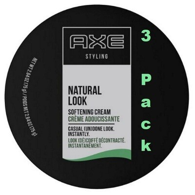 Axe Natural Look Hair Softening Cream, 2.64 Ounce, Pack of 3