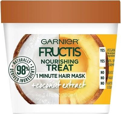 Garnier Fructis Nourishing Treat 1 Minute Hair Mask, Coconut Extract, 3.4 fl Ounce