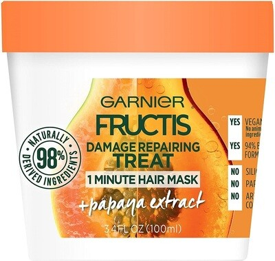 Garnier Fructis Damage Repairing Treat 1 Minute Hair Mask, Papaya Extract, 3.4 fl Ounce