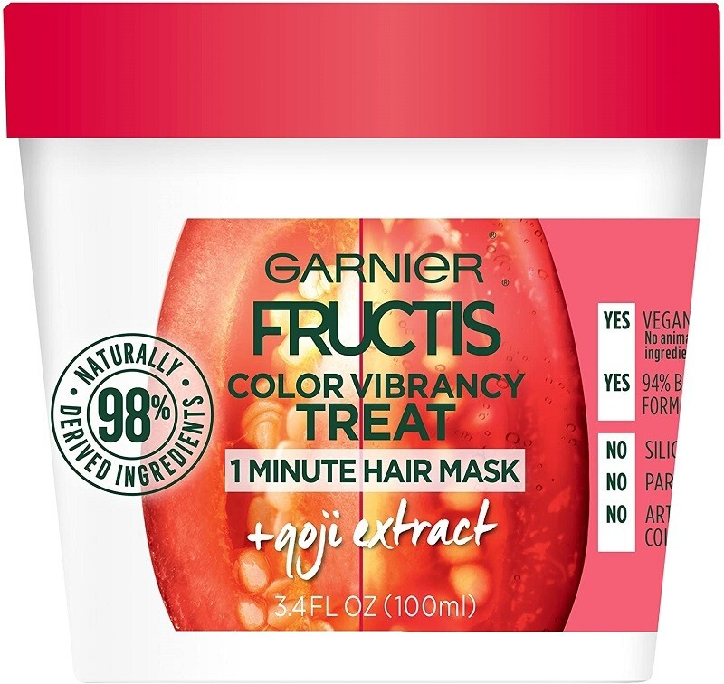 Garnier Fructis Color Vibrancy Treat 1 Minute Hair Mask, Goji Extract, 3.4 fl Ounce