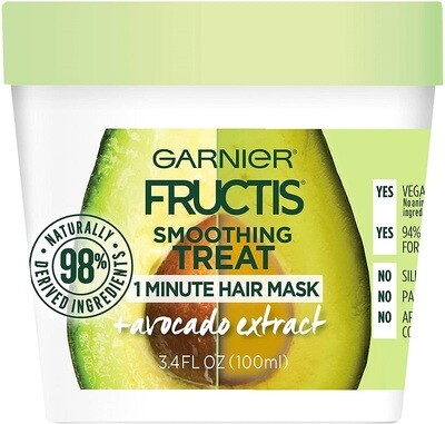 Garnier Fructis Smoothing Treat 1 Minute Hair Mask, Avocado Extract, 3.4 fl Ounce