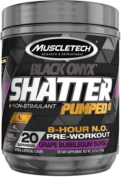 MuscleTech Shatter Pumped 8 Black Onyx, Grape Bubblegum Burst, 20 Servings