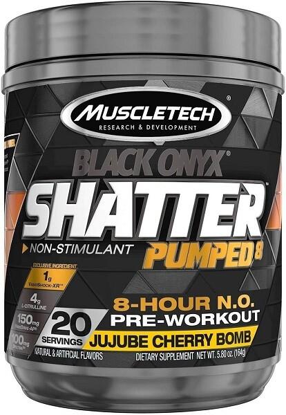 MuscleTech Shatter Pumped 8 Black Onyx, JuJube Cherry Bomb, 20 Servings