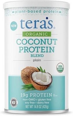 Tera's Whey Organic Coconut Protein Blend, Plain, 14.8 Ounce
