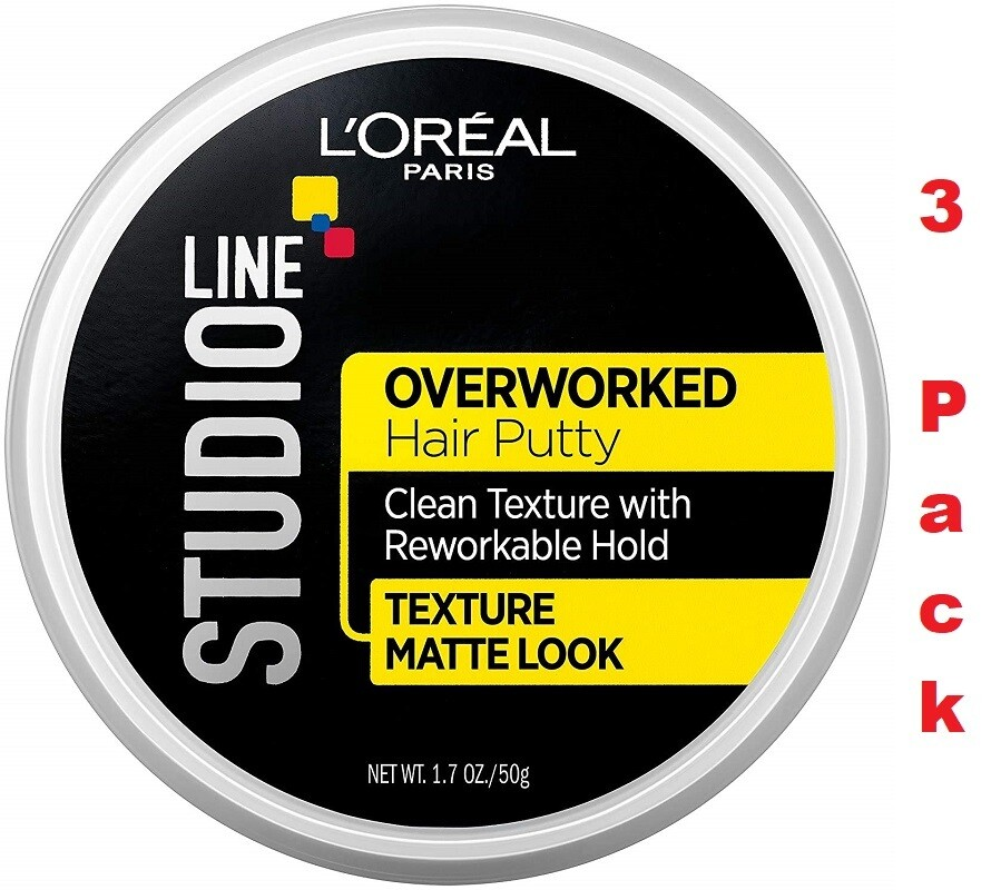 LOreal Paris Studio Line Overworked Hair Putty, 1.7 Ounce, Pack of 3