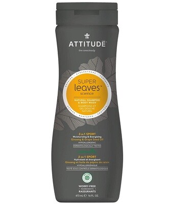 Attitude Super Leaves, Shampoo and Body Wash, Ginseng & Grapeseed Oil, 16 fl Ounce