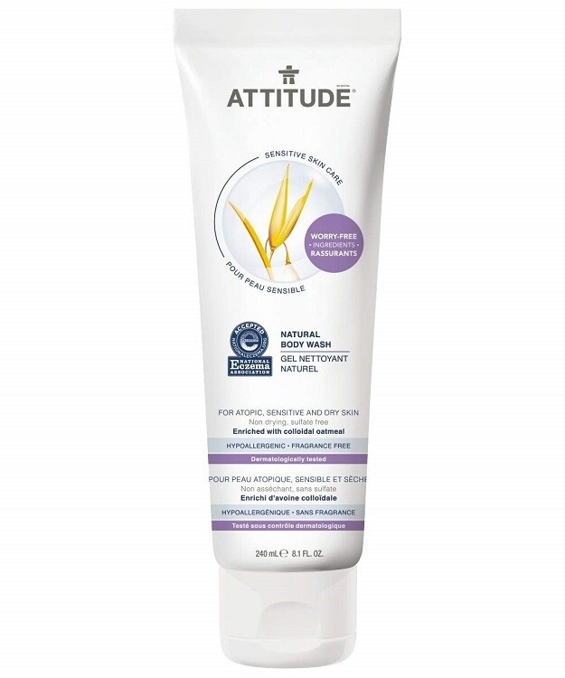 Attitude Natural Body Wash for Sensitive Itchy and Dry Skin, Fragrance-Free, 8.1 fl Ounce
