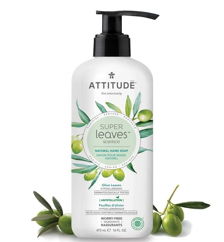 Attitude Super Leaves, Hypoallergenic Hand Soap, Olive Leaves, 16 fl Ounce