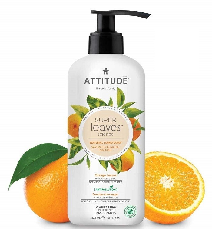 Attitude Super Leaves, Hypoallergenic Hand Soap, Orange Leaves, 16 fl Ounce