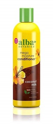 Alba Botanica Hawaiian Mega Moisture Hair Conditioner, Coconut Milk, 12 Ounce
