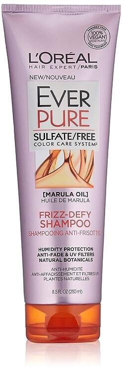 LOreal Paris EverPure Frizz-Defy Hair Shampoo, with Marula Oil, 8.5 fl Ounce