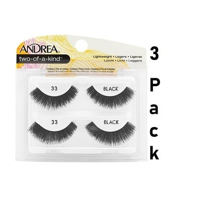 Andrea Two of a Kind 33 False Eyelashes Strip Lash Twin Packs, Pack of 3