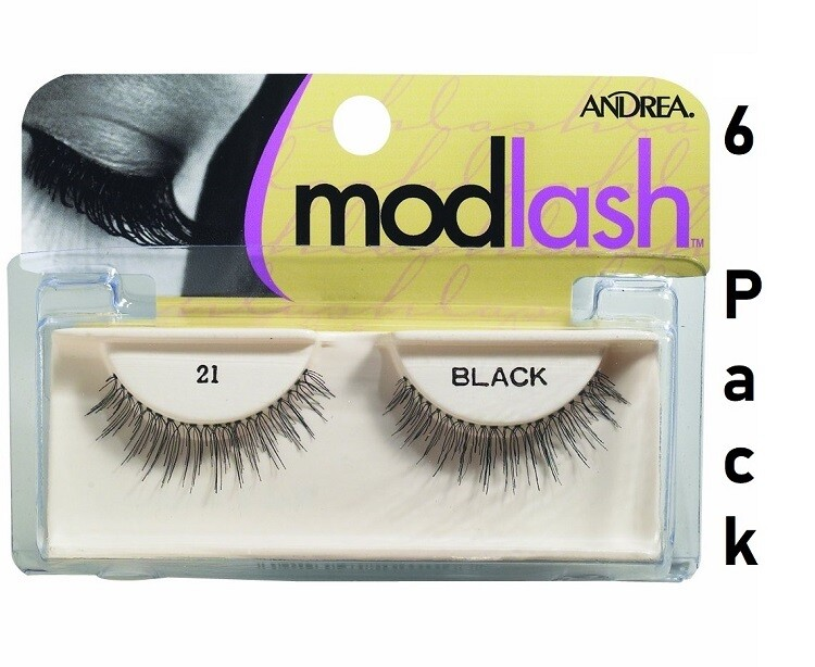 Andrea Mod Strip Lash Pair Style 21, black, Pack of 6