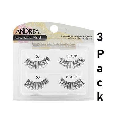 Andrea Two of a Kind #53 False Eyelashes, Strip Lash Twin Packs, Pack of 3