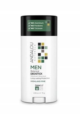 Andalou Naturals Men Botanical DeoStick, Highland Pine, Herbal Deodorant, 2.65 Ounce