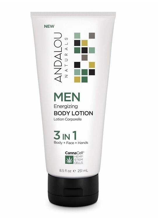 Andalou Naturals Men Energizing 3 IN 1 Body Lotion for Face, Body, Hands, 8.5 fl Ounce