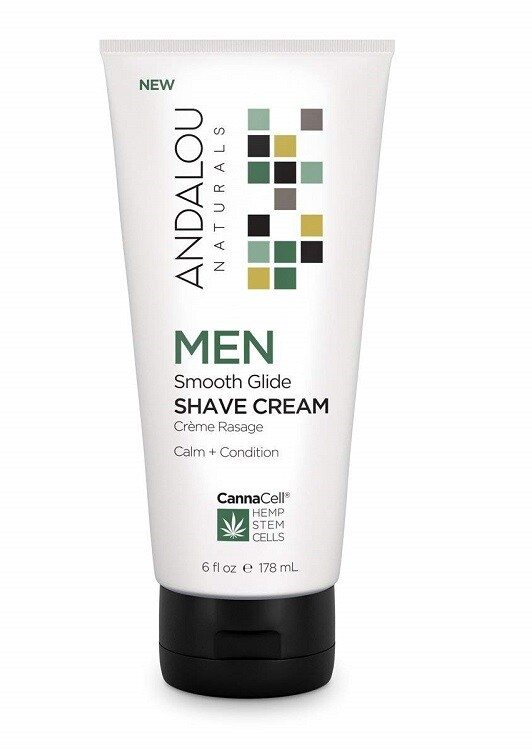 Andalou Naturals CannaCell Men Smooth Glide Shave Cream, 6 fl Ounce