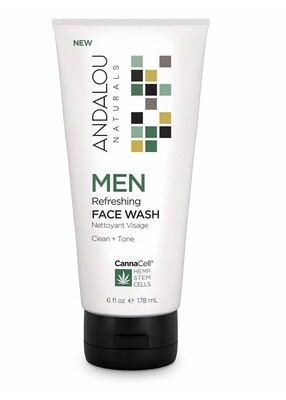 Andalou Naturals Men Refreshing Face Wash with CannaCell, 6 Ounce