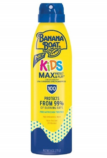 Banana Boat Kids Max Protect and Play Clear Sunscreen Spray, SPF 100, 6 Ounce