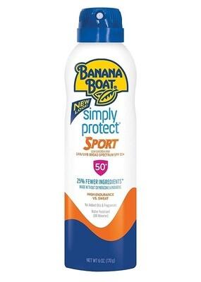Banana Boat Simply Protect Sport Sunscreen Spray, SPF 50+, 6 Ounce