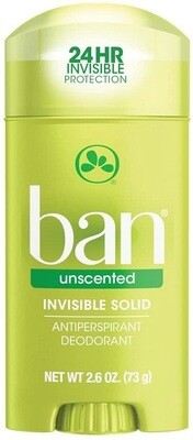 Ban Antiperspirant Deodorant, Invisible Solid, Unscented, 2.60 Ounce