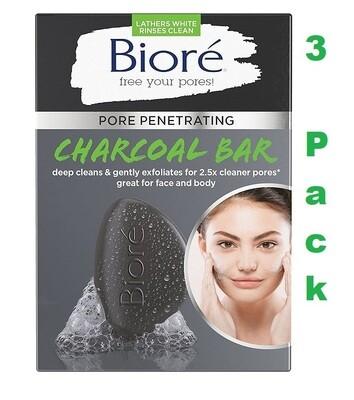 Bioré Pore Penetrating Charcoal Bar, 3.7 Ounce, Pack of 3