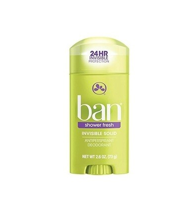 Ban Antiperspirant Deodorant, Invisible Solid, Shower Fresh 2.60 Ounce