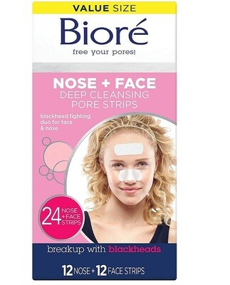 Biore Nose and Face, Deep Cleansing Pore Strips, 24 Count